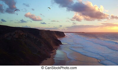 Aerial from para gliding at vale figueiras beach in Portugal