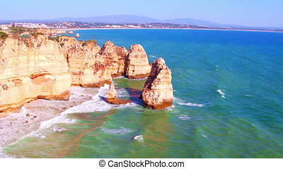 Aerial from Ponte Piedade in Lagos Portugal