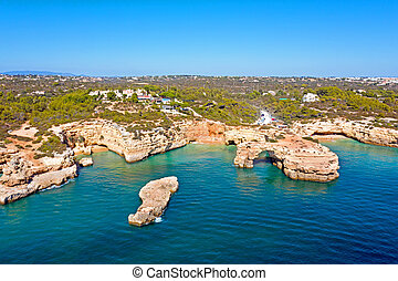 Aerial from praia Albandeira in the Algarve Portugal