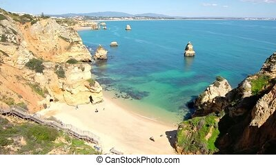 Aerial from Praia D'Ana in Lagos Portugal