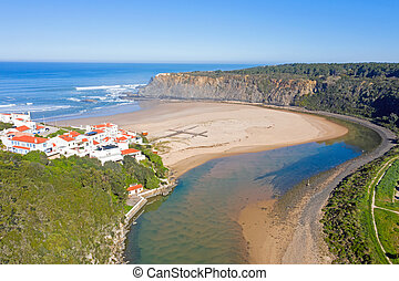 Aerial from Praia Odeceixe on the west coast in Portugal