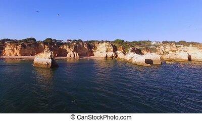 Aerial from Praia Tres Irmaos in Alvor Portugal