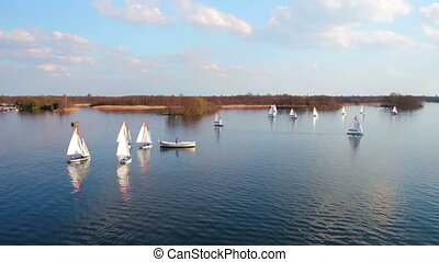 Aerial from sailing at Loosdrechtse Plassen in the...