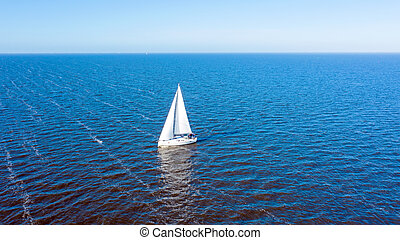 Aerial from sailing on the IJsselmeer in the Netherlands