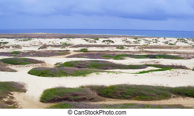 Aerial from sand dunes on Aruba island in the Caribbean Sea