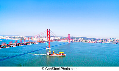 Aerial from the 25 Abril bridge in Lisbon Portugal