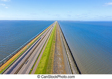 Aerial from the Afsluitdijk in the north of the Netherlands