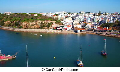Aerial from the harbor from Alvor in Portugal