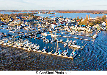 Aerial from the harbor from Loosdrecht in the Netherlands