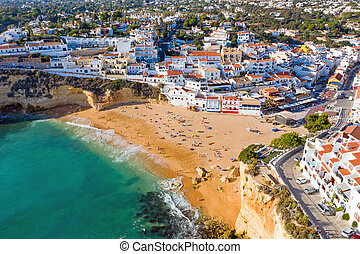 Aerial from the traditional village Carvoeiro in the Algarve...
