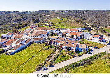 Aerial from the traditional village Pedralva in the Algarve ...