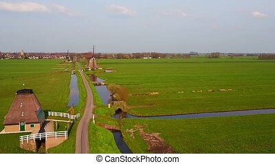 Aerial from traditional windmills at Kinderdijk in the...