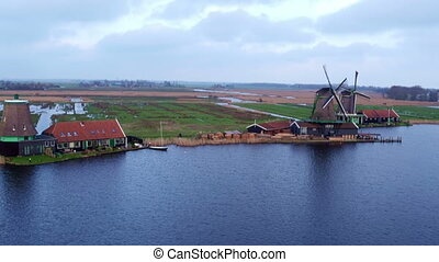 Aerial from traditional windmills at Zaanse Schans in the...