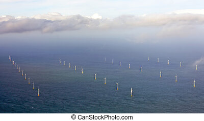 Aerial from wind turbines on the North Sea in the Netherlands
