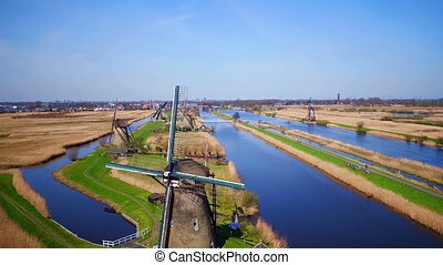 Aerial from windmills at Kinderdijk in the Netherlands