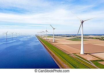 Aerial from windturbine farm 'Westermeerdijk' in the Neetherlands