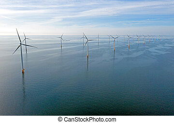 Aerial from windturbines at the IJsselmeer in the Netherlands