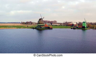 Aerial from Zaanse Schans in the Netherlands