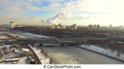 aerial frozen Moscow river