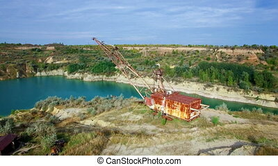 Aerial: giant mining excavator