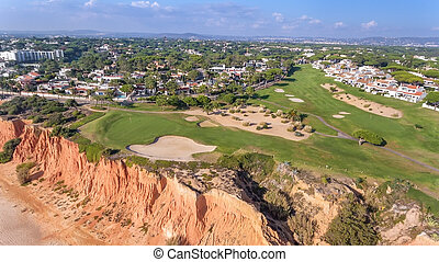 Aerial Golf Park Val de Lobo, Vilamoura, Portugal. Great place overlooking the beach.