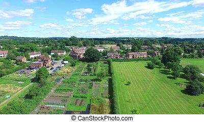Aerial green village shot