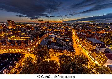 Aerial Groningen city night