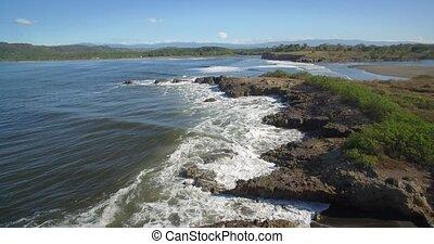 Aerial, Guacalillo Cliffs, Costa Rica - Native Material,...