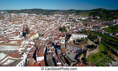 Aerial. Historic Spanish village Jerez de los Caballeros...