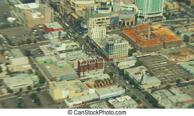 Flying over the intersection of Hollywood & Highland in Los Angeles, California.