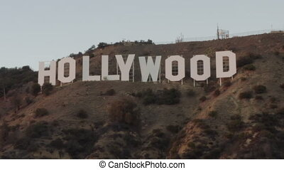 AERIAL: Hollywood Sign at Sunset, Los Angeles, California