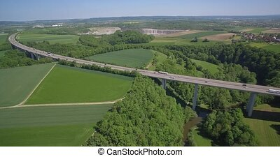 Aerial, Hover At A German Autobahn Bridge - Native Material,...