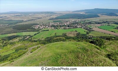 Aerial hungarian landscape footage from a hill Csobanc, near a lake Balaton