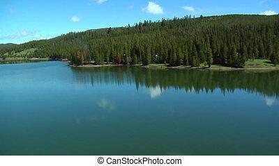Aerial Hyalite Reservoir near Bozeman Montana, reflective...
