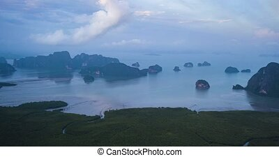 Aerial hyper lapse of scenic tropical bay during beautiful...