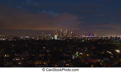 AERIAL HYPER LAPSE: Towards Downtown Los Angeles Day to Night Drone Time Lapse Transition