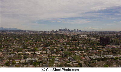 AERIAL HYPER LAPSE: Towards Downtown Los Angeles only Cloudy Day Drone Time Lapse