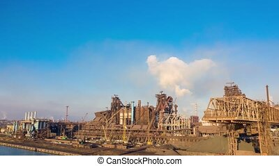 Aerial hyperlapse. Metallurgical production
