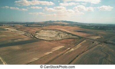 Aerial hyperlapse of a solar power station