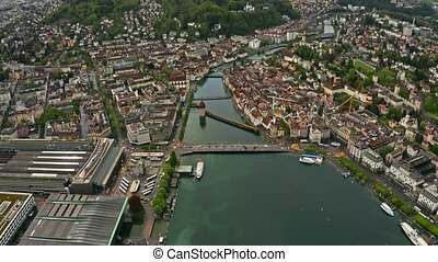 Aerial hyperlapse of famous Kapellbrucke or Chapel Bridge...