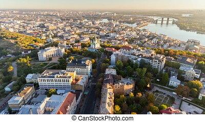 Aerial hyperlapse of Kiev old town at sunrise. Kiev,...