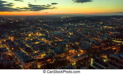Aerial Hyperlapse Time lapse. Panorama of the ancient city. Ukraine Lviv City