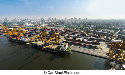 Aerial image of cargo ships at seaport