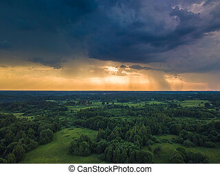 Aerial image of dark Storm clouds in the field
