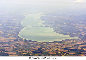 Aerial image of Lake Balaton