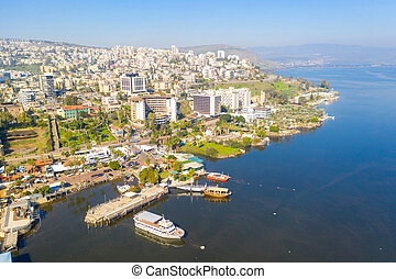 Tiberias, Israel. with the sea of Galilee on a clear day.