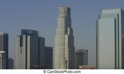 AERIAL: In Downtown Los Angeles Skyline towards US Bank Tower in beautiful Daylight, HD