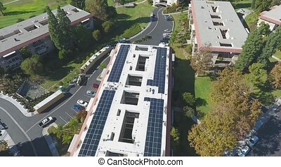 Aerial, Installation of Solar Panels on Retirement Building, renewable Energy