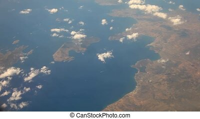 video footage of flying over Crete, Greece
