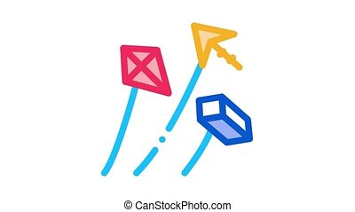 aerial items to launch Icon Animation. color aerial items to launch animated icon on white background